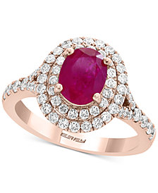 EFFY® Certified Ruby (1-3/8 ct. t.w.) & Diamond (3/4 ct. t.w.) Halo Ring in 14k Rose Gold