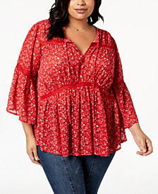Lucky Brand Trendy Plus Size Lace-Trim Peasant Top