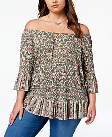 Style & Co Plus Size Mixed-Print Off-The-Shoulder Top, Created for Macy's