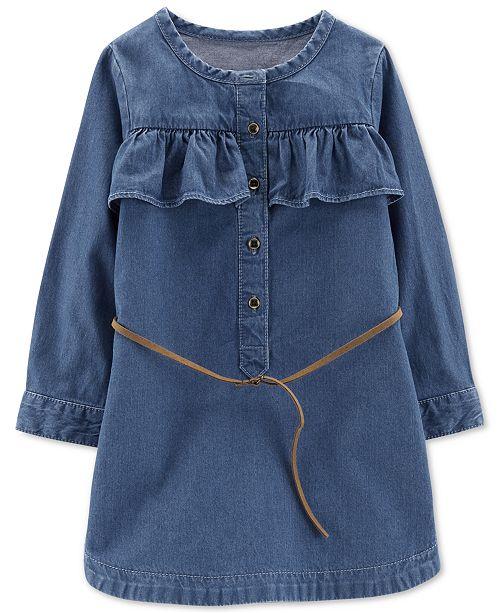 a49d9c0ed4b Carter s Little   Big Girls Belted Cotton Denim Shirtdress - Dresses ...