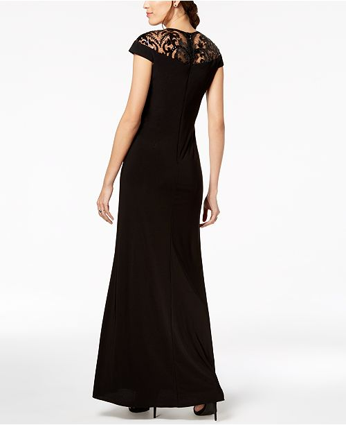 e6590d3362ed Adrianna Papell Sequin-Illusion Slit Gown & Reviews - Dresses ...