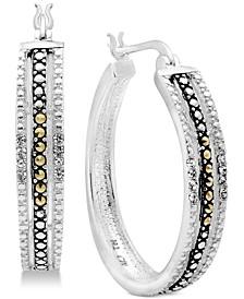 Marcasite & Crystal Patterned Medium Hoop Earrings  in Fine Silver-Plate