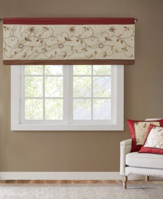 "Serene 50"" x 18"" Colorblocked Embroidered Rod Pocket Window Valance"