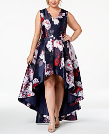 Calvin Klein Plus Size Floral High-Low Gown