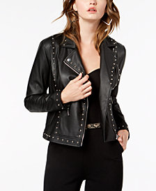 GUESS Vina Studded Faux-Leather Moto Jacket