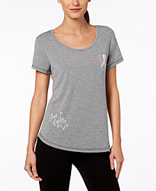 Ideology Breast Cancer Research Foundation Keyhole-Back T-Shirt, Created for Macy's