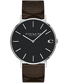 COACH Men's Charles Created for Macy's Brown Leather Strap Watch 41mm
