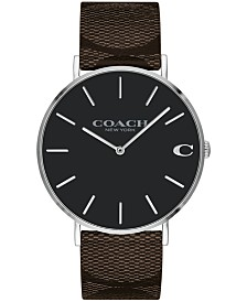 COACH Men's Charles Brown Leather Strap Watch 41mm, Created for Macy's
