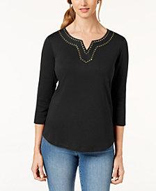 Karen Scott Cotton Embellished Top, Created for Macy's