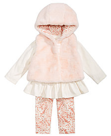 First Impressions Baby Girls 3-Pc. Faux-Fur Vest, Tunic & Leggings Set, Created for Macy's