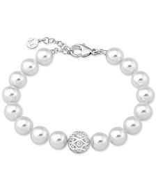 Majorica Sterling Silver Pavé Bead & Imitation Pearl Link Bracelet