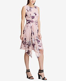 DKNY Floral Printed Draped A-Line Dress, Created for Macy's