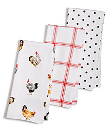 Martha Stewart Collection 3-Pc. Rooster Towel Set, Created for Macy's