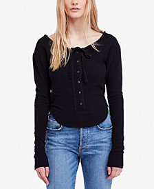 Free People Cecilia Tie-String Thermal Top