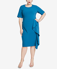 RACHEL Rachel Roy Trendy Plus Size Ruffled Scuba Crepe Dress