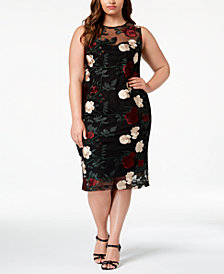 Calvin Klein Plus Size Embroidered Mesh Sheath Dress
