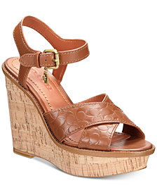 COACH CI Excluse Crossband Wedge Sandals