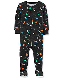 Carter's Baby Boys Space-Print Cotton Footed Pajamas
