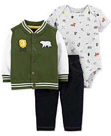 Carter's Baby Boys 3-Pc. Wilderness Varsity Jacket Outfit Set
