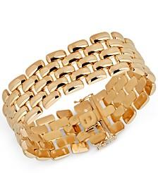 Wide Panther Link Bracelet in 14k Gold-Plated Sterling Silver
