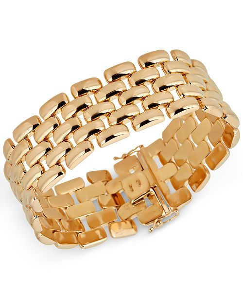 b9ca91125 Macy's Wide Panther Link Bracelet in 14k Gold-Plated Sterling Silver ...