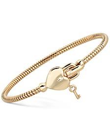 Heart & Key Tubogas Bangle Bracelet in 14k Gold-Plated Sterling Silver