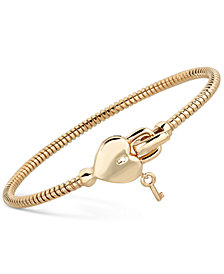 Heart & Key Tubogas Bangle Bracelet in 14k Gold-Plated Sterling Silver