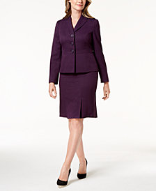 Le Suit Three-Button Cross-Hatch Skirt Suit, Regular & Petite