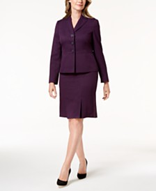 Le Suit Three-Button Cross-Hatch Skirt Suit