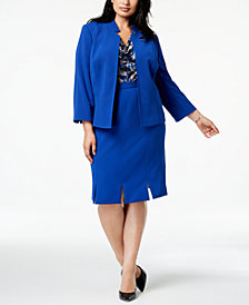 Kasper Plus Size Flyaway Jacket, Printed Shell & Carwash-Hem Skirt