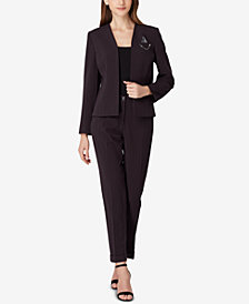 Tahari ASL Pinstriped Chain-Detail Pantsuit, Regular & Petite