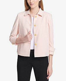 Calvin Klein Four-Button Cropped Crepe Jacket