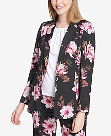 Calvin Klein One-Button Floral-Print Jacket