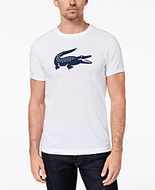 Lacoste Men's Oversized Crocodile Logo Graphic Technical Jersey Tennis T-Shirt