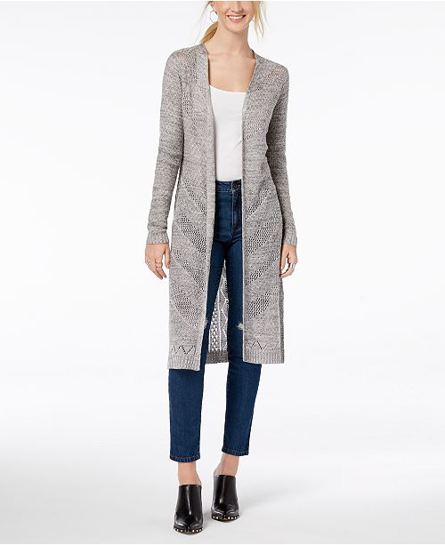 IOT Juniors' Cardigan Hooked Up Duster Marl Grey by Cotton wE7xqPp