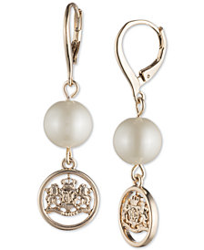 Lauren Ralph Lauren Gold-Tone Crest & Imitation Pearl Drop Earrings