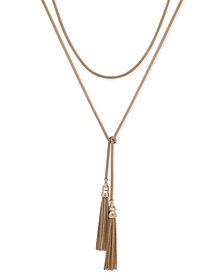 "Lauren Ralph Lauren Gold-Tone Mesh & Chain Tassel 30"" Wrap Necklace"