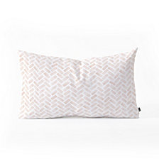 Deny Designs Little Arrow Design Co arcadia herringbone in blush Oblong Throw Pillow
