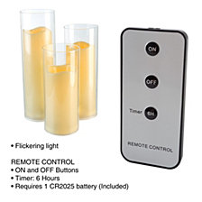 Flameless LED Candles-Set of 3 with Remote and Timer by Lavish Home