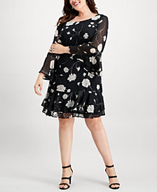 Jessica Howard Plus Size Floral Bell-Sleeve Dress