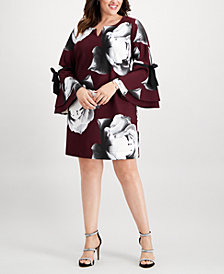 Robbie Bee Plus Size Split-Neck Bell-Sleeve Dress