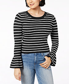 Ultra Flirt Juniors' Ribbed Bell-Sleeve Top