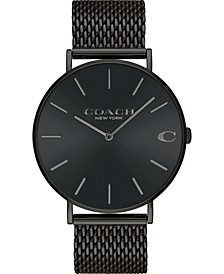 Men's Charles Created for Macy's  Black Stainless Steel Mesh Bracelet Watch 36mm
