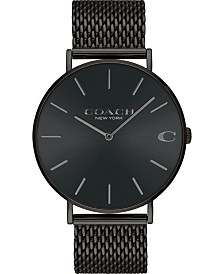 COACH Men's Charles Created for Macy's  Black Stainless Steel Mesh Bracelet Watch 36mm