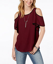 BCX Juniors' Piped Cold-Shoulder Necklace Top