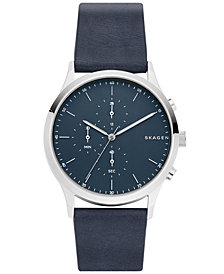 Skagen Men's Chronograph Jorn Blue Leather Strap Watch 41mm