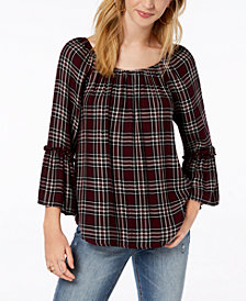 BCX Juniors' Off-The-Shoulder Plaid Top