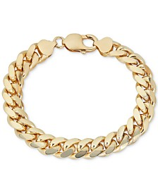 Men's Wide Cuban Link Bracelet in 18k Gold-Plated Sterling Silver