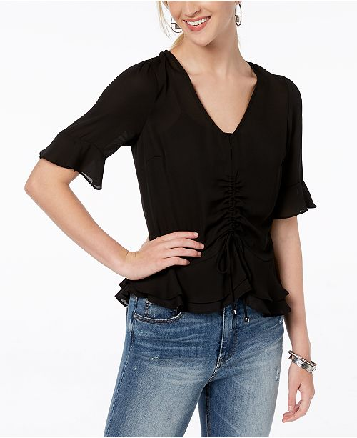 Ruffle BCX Black Blouse Peplum Juniors' Ruched qpWnUfp