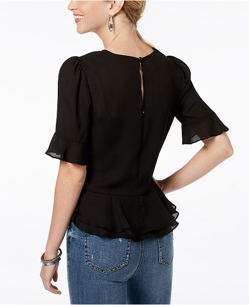 Blouse Ruffle Peplum Ruched Black BCX Juniors' zwnxRUqHH6